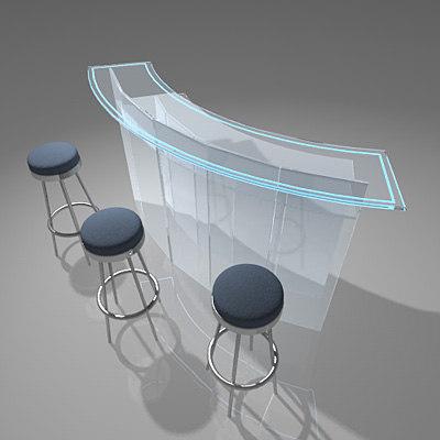 3d bar counter 3 stool