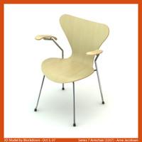3d arne jacobsen chair model