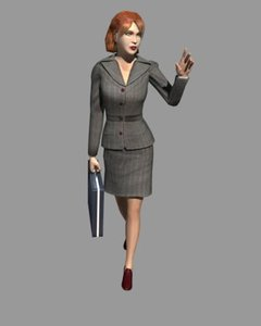 3d model white female