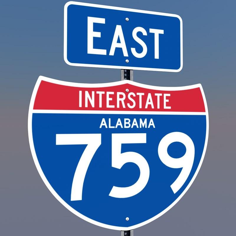 interstate 759 east highway sign 3d c4d