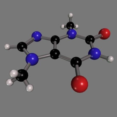 3d theobromine molecule chocolate model