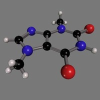 3d theobromine molecule chocolate model