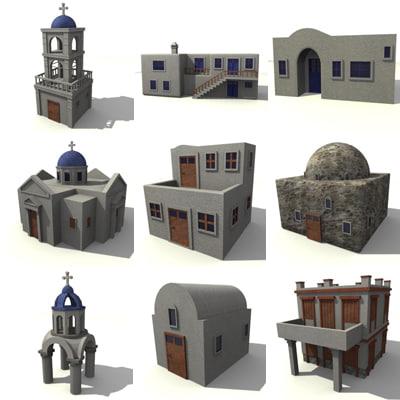 greek buildings 3d model
