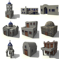 greek buildings 3d model