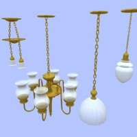 LIGHT FIXTURES - HANGING, WALL MOUNTED, ANTIQUE (ca. 1900)