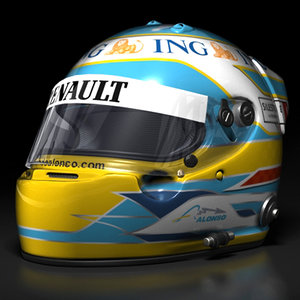 fernando alonso helmet 2008 3d model