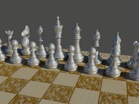 3d model silver chess set