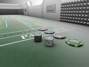 craps table chips dice 3d model
