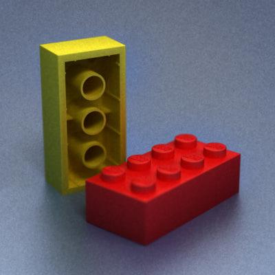 classic lego bricks 3d max