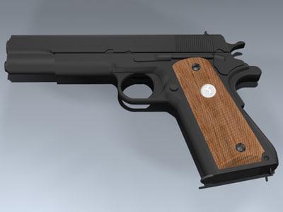 m1911a1 pistol 3d model