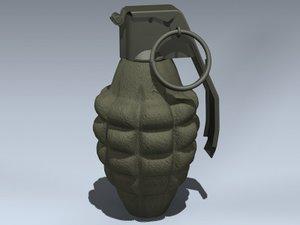 3d model mk ii hand grenade