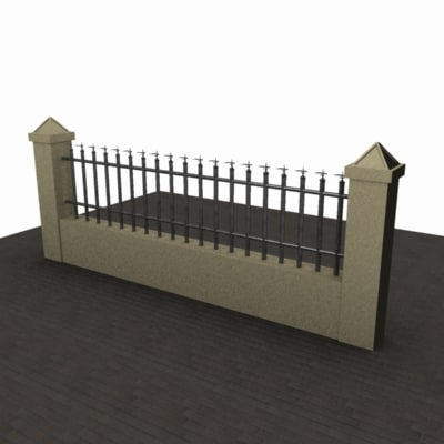 Fence 3d Model - brick wall designs with palisade fencing