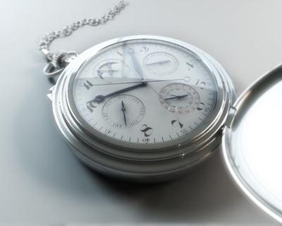 3d chrome pocket watch