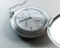 3d chrome pocket watch