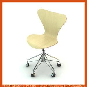 3d arne jacobsen swivel chair