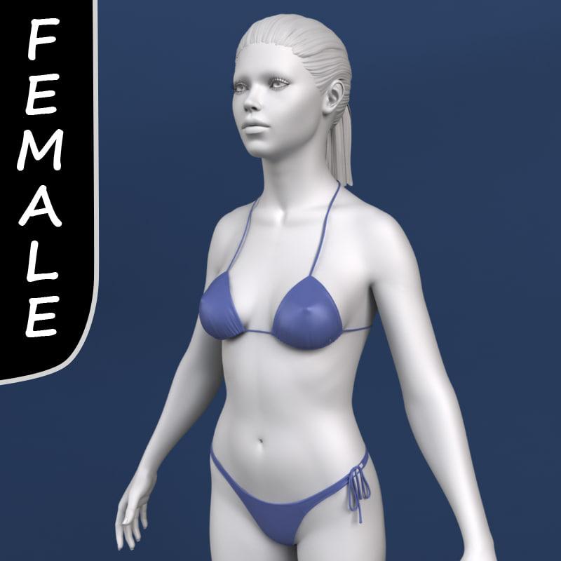 3d model polygonal female