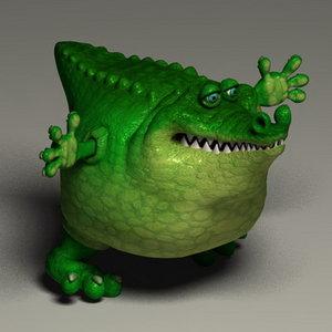 toon crocodile obj