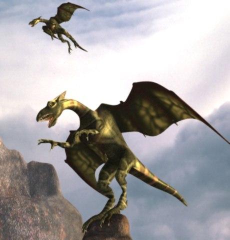 3d winged dragon gargol model