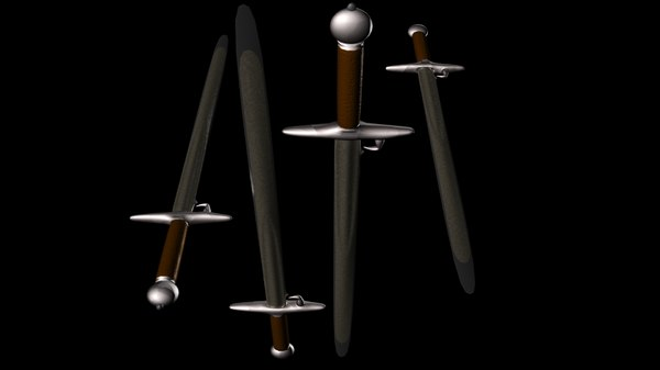 double-edged sword 13th hand-and-a-half 3d model