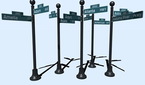 206 street signs names 3d model