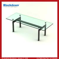 le corbusier glass table