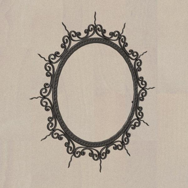 3d model fer circular mirror frame