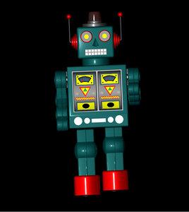 vintage retro robot 3d model