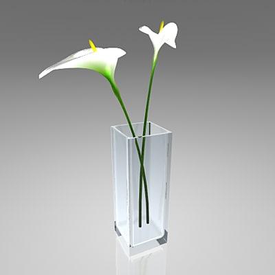 3d decorative vase callas flowers