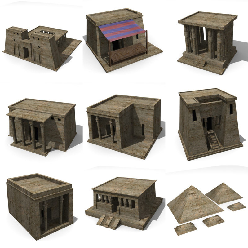 egyptian buildings 3d model