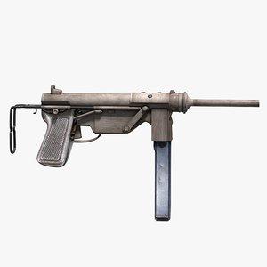 3d model m3 submachine gun pistol