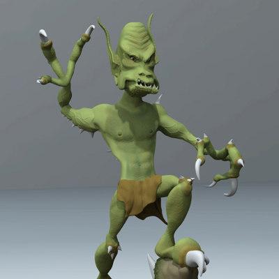3d goblin sculpture model