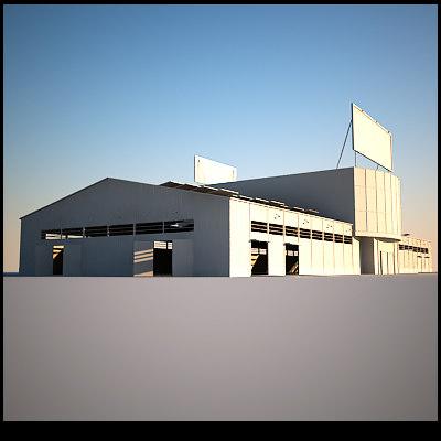 hangar storage windows doors 3d 3ds