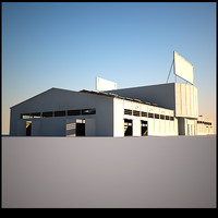 hangar storage windows doors 3d 3ds
