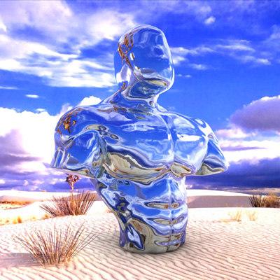 3d model muscular torso sculpture