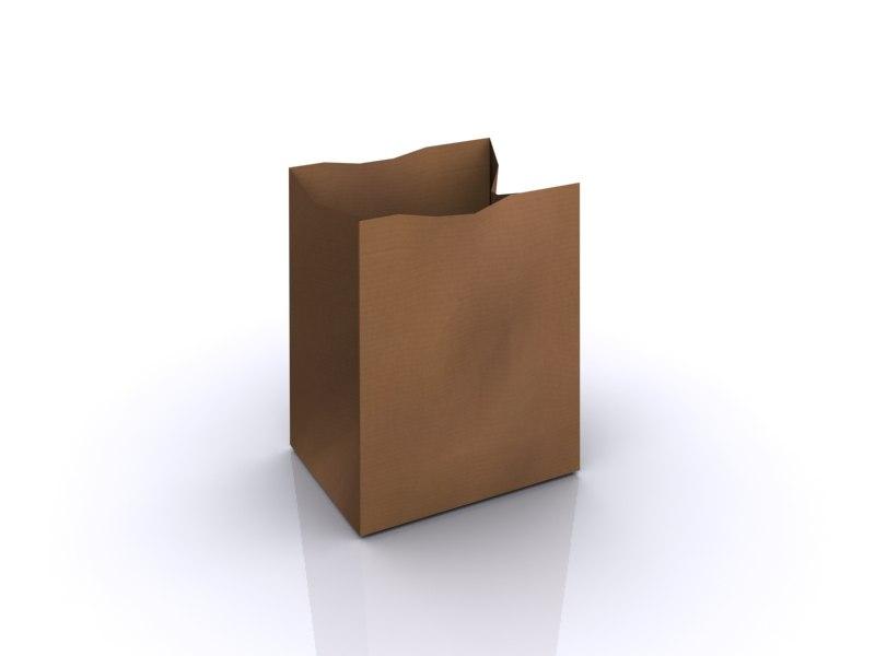 3d brown paper bag