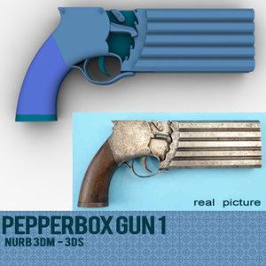 3dsmax pepperbox gun