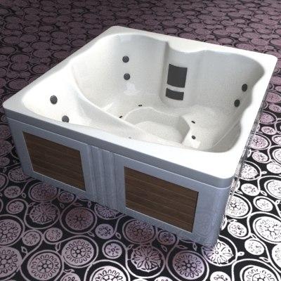 3d model spa pool garden