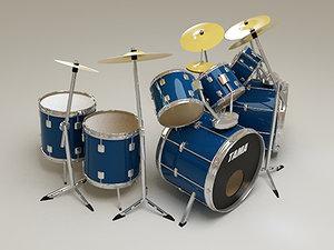 3d double bass drums model