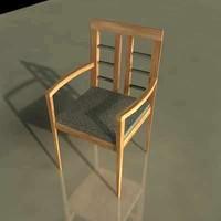 modern wood chair 3d 3ds