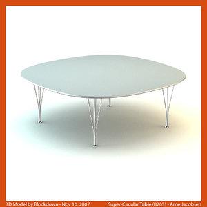 arne jacobsen table 3d model