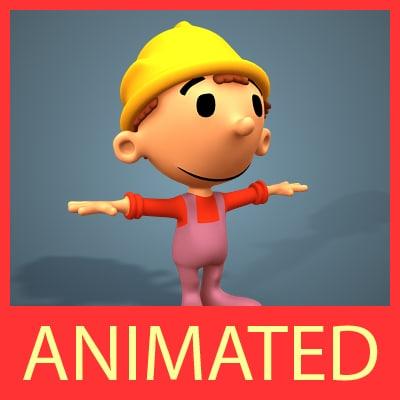 3d little cute worker character model