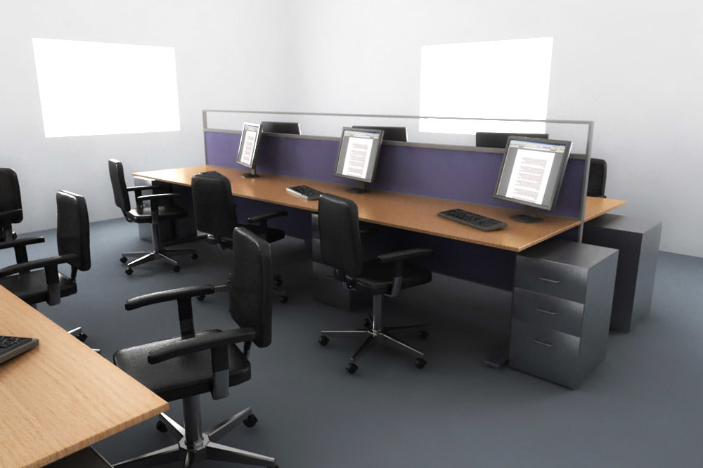 Desk office setup 3d model for Office configuration