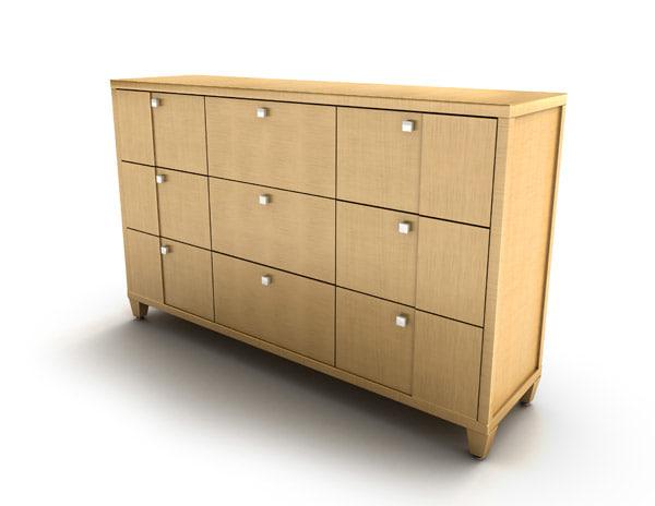 3d dresser drawers entourage model