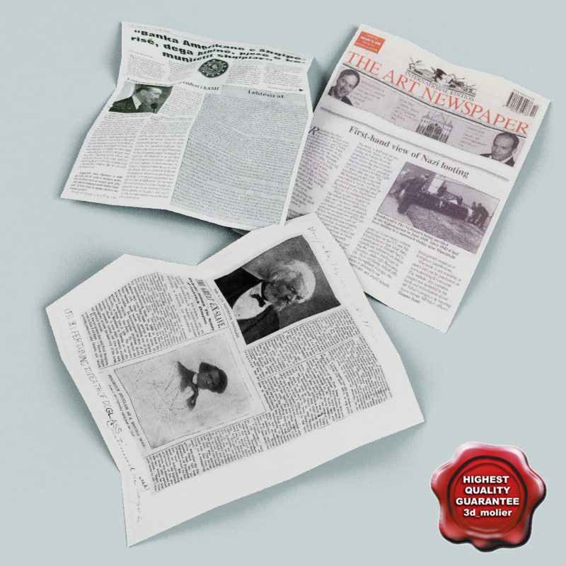 newspapers modelled 3d model