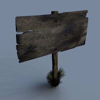 3d model old delapitated wooden sign