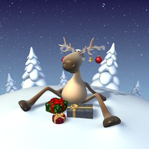 winter funny cartoon reindeer 3d max