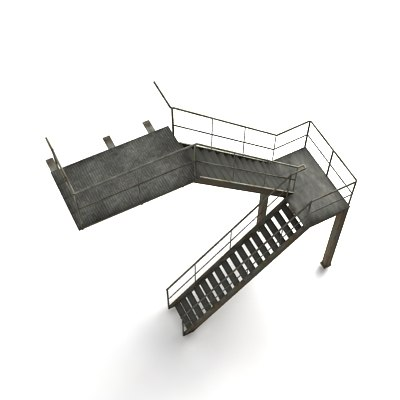 industrial staircase 3d obj