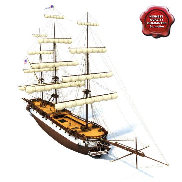 3d ship frigate modelled model