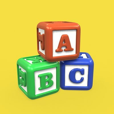colored letter blocks 3d obj