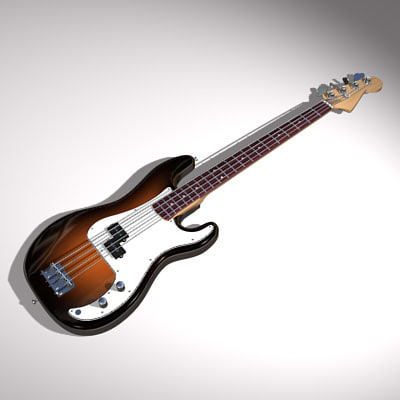3d model electric bass fender